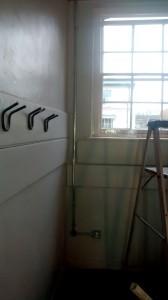 Restroom conduit.